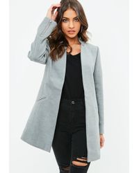 Missguided - Grey Inverted Collar Short Formal Coat - Lyst