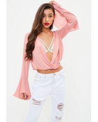 Missguided | Pink Longer Length Chiffon Wrap Blouse | Lyst