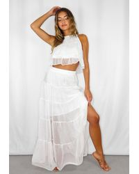 Missguided Tiered Maxi Skirt - White