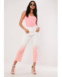Missguided Pink Ombre Wrath Straight Leg Denim Jeans