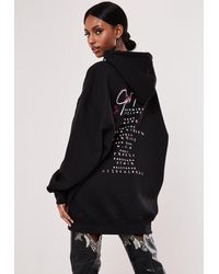 Missguided Oversized Hooded Sweater Tour Dress - Black