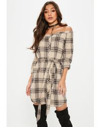 Missguided - Brown Checked Bardot Belted Shirt Dress - Lyst