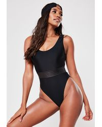 Missguided Black Contrast Waistband Scoop High Leg Swimsuit