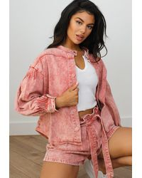 Missguided Co Ord Acid Wash Loose Fit Denim Shorts - Pink