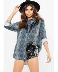 Missguided - Grey Snakeskin Double Fringe Chiffon Shirt - Lyst