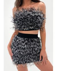 Missguided Premium Tipped Feather Bandeau Crop Top - Black