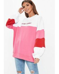 Missguided - White Oversized Contrast Honey Bunny Embroidered Slogan Sweatshirt - Lyst
