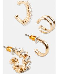 Missguided Look Crystal Ear Cuff Set - Metallic
