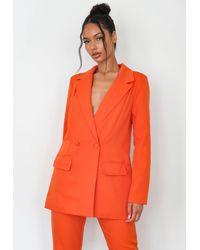 Missguided Oversized Longline Blazer - Orange