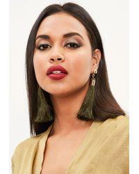 Missguided - Khaki Tassel Earrings - Lyst
