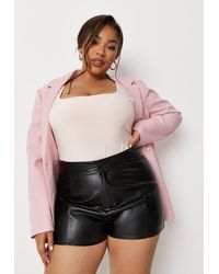 Missguided Size Black Faux Leather Seam Detail Shorts