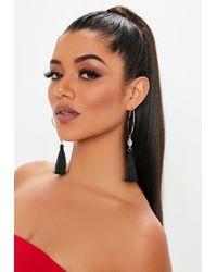 Missguided - Black Tassel Earrings - Lyst