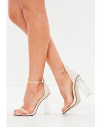 Missguided - Nude Block Perspex Sandal Heels - Lyst