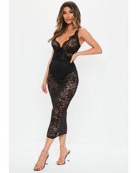 Missguided Black Scallop Lace Wrap Midi Dress