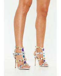 e076e277526 Missguided - Silver Multi Jewel Embellished Gladiator Sandals - Lyst