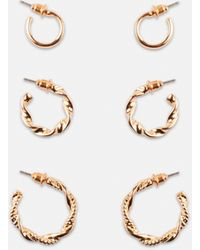 Missguided Look Twist Hoop Earrings 3 Pack - Metallic