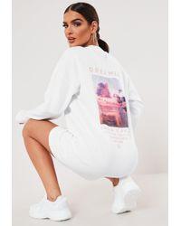 Missguided Sxf X White Dreamer Oversized Graphic Sweatshirt