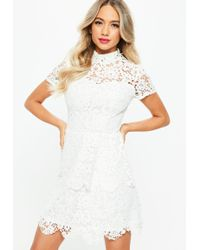 49d52ff792 Missguided - Tall White Short Sleeve Layered Lace Dress - Lyst