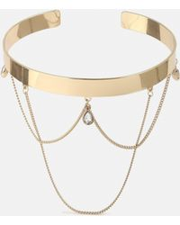 Missguided - Gold Cuff With Drop Chain - Lyst