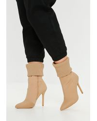 d3ae90c7494e Missguided Nude Faux Suede Over The Knee Heeled Boots in Blue - Lyst