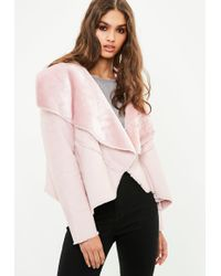 Missguided - Pink Waterfall Faux Shearling Jacket - Lyst