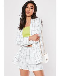 Missguided White Plaid Co Ord Linen Tailored Shorts