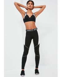 Missguided - Active Black Contrast Piping Full Length Leggings - Lyst