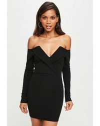 32829070 Missguided Black Sequin Bandeau Bodycon Dress in Black - Lyst