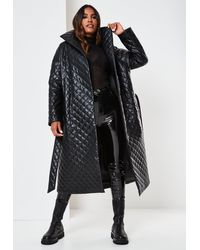 Missguided Diamond Quilted Midaxi Coat - Black