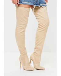Missguided - Nude Pointed Over The Knee Faux Suede Boots - Lyst