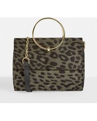 Missguided Brown Leopard Print Faux Suede Ring Handle Bag