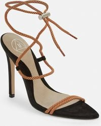 e5ec945bc65 Lyst - Steve Madden Dream Rope Tie Up Heeled Sandals in Black