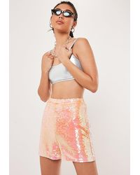 Missguided Tall Pink Sequin Shorts