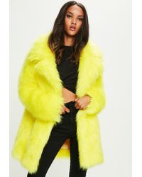 Missguided - Yellow Faux Fur Coat With Collar - Lyst