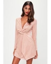 Missguided - Pink Faux Suede Twist Front Dress - Lyst