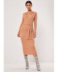 Missguided Tan Ribbed Wrap Front Tie Belt Midi Dress - Brown