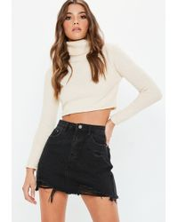 Missguided - Black Ripped A Line Denim Micro Mini Skirt - Lyst