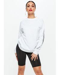 Missguided - White Long Sleeve Calabasas Sleeve Sweatshirt - Lyst