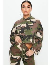 Missguided - Khaki Extreme Oversized Camo Cropped Hoodie - Lyst