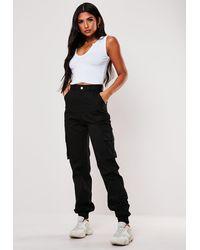 Missguided Petite Black Plain Cargo Pants
