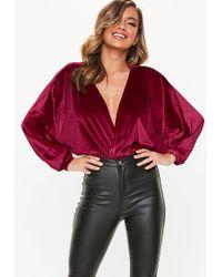 369090944d7 Missguided - Red Velvet Bat Wing Bodysuit - Lyst