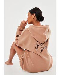 Missguided - Ride Or Die Fleece Extreme Oversized Loungewear Hoodie Dress - Lyst