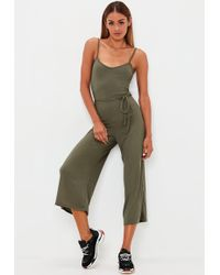 Missguided - Khaki Ribbed Culotte Jumpsuit - Lyst