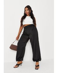 Missguided Size Black Satin Joggers