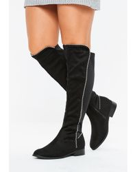2d081422ceea Missguided Black Ruched Vinyl Pointed Over The Knee Boots in Black ...