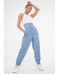 Missguided Tall Blue High Waisted Corset Balloon Jeans