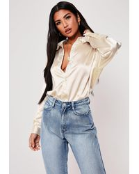 Missguided Nude Extreme Oversized Satin Shirt - Natural