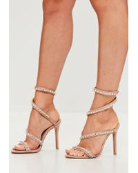 cf3aad939c56 Missguided - Carli Bybel X Nude Jewel Wrap Around Heeled Sandals - Lyst