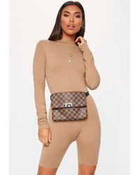 Missguided - Brown High Neck Long Sleeve Unitard - Lyst