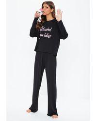 Missguided - Black Alcohol You Later Long Sleeve Pyjama Set - Lyst